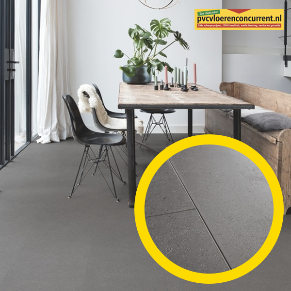 Vibrant Mediumgrijs vloer voorzien van 4 groeven. Bekijk de PVC vloer in de showroom van de PVC Vloerenconcurrent in Zwaag