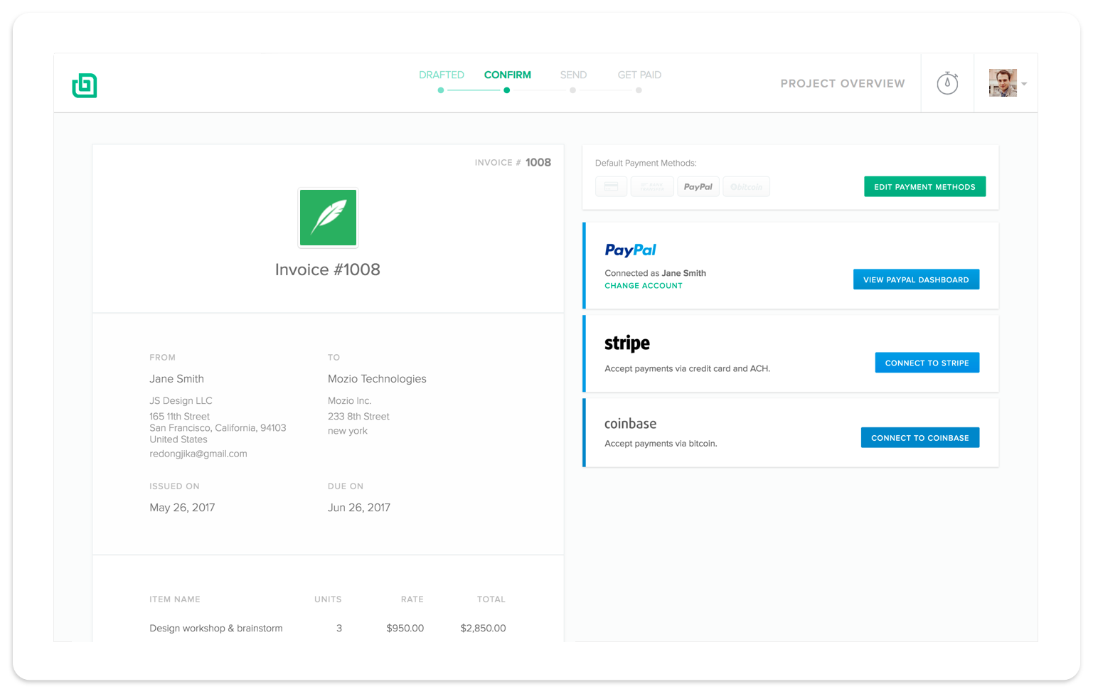 Freelancers Get Paid Faster With Bonsai Invoicing.  Freelance Invoices