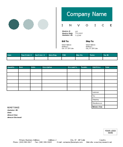 Example Of An Excel Web Design Template  Designing An Invoice
