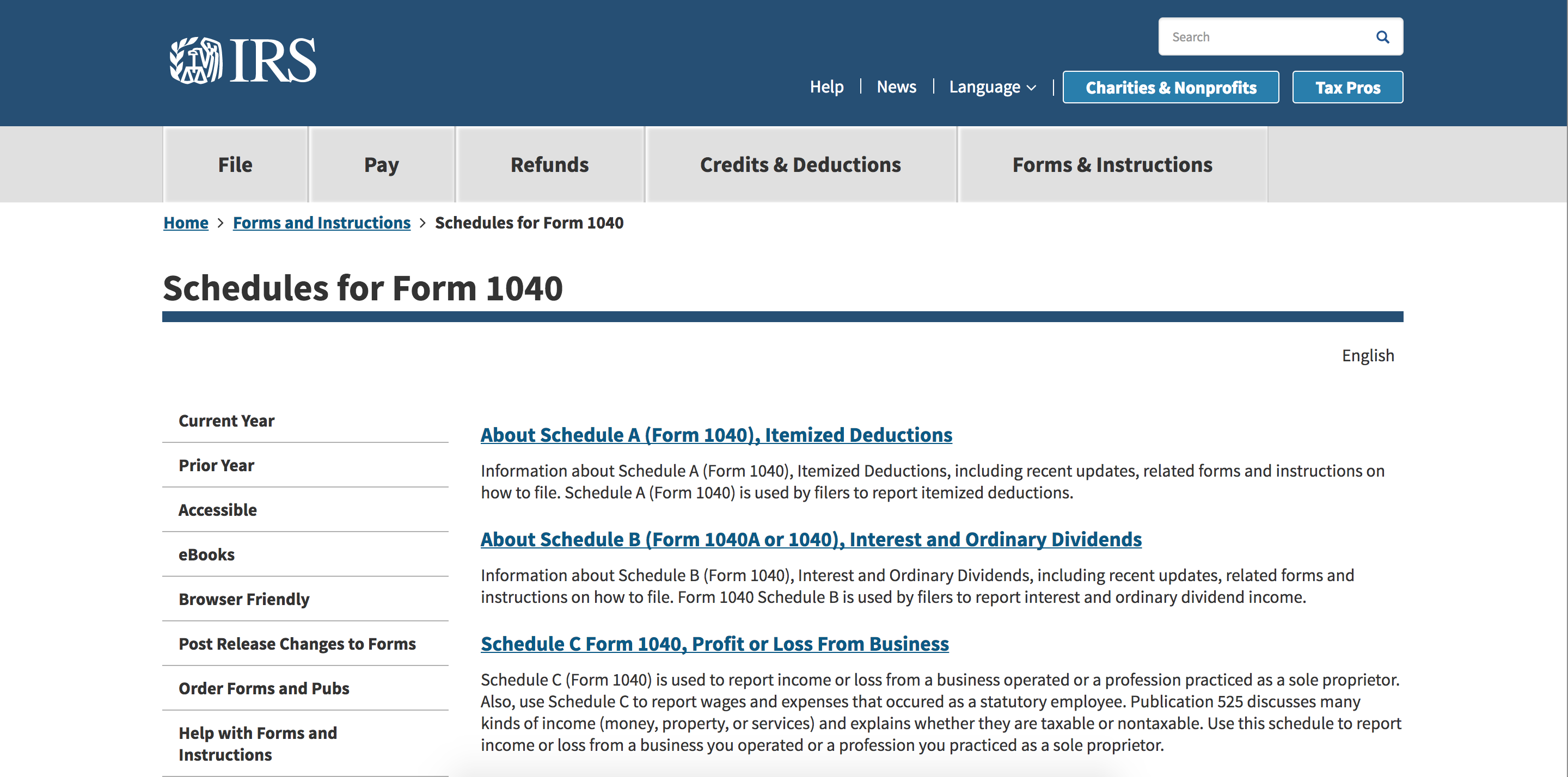 Form 1040 instructions for freelancers bonsai screenshot of irs website form 1040 falaconquin