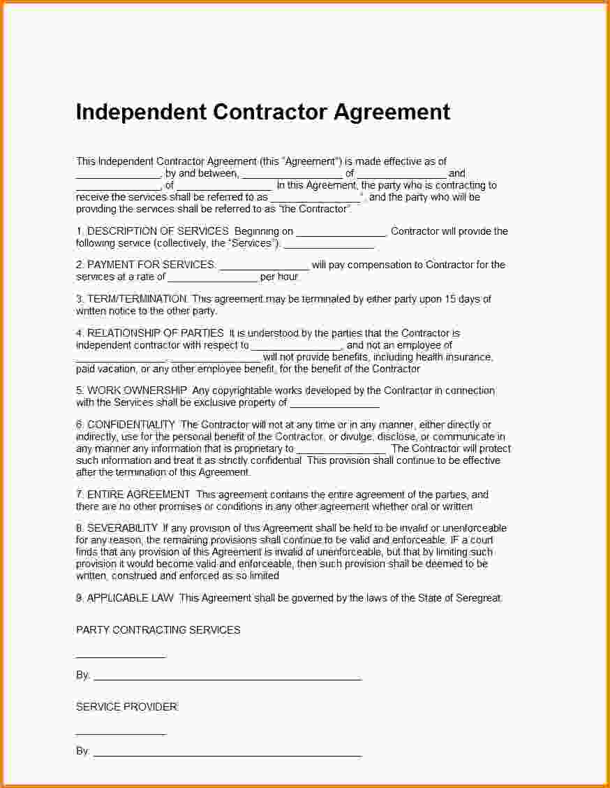 Independent Contractor Contract Template Bonsai