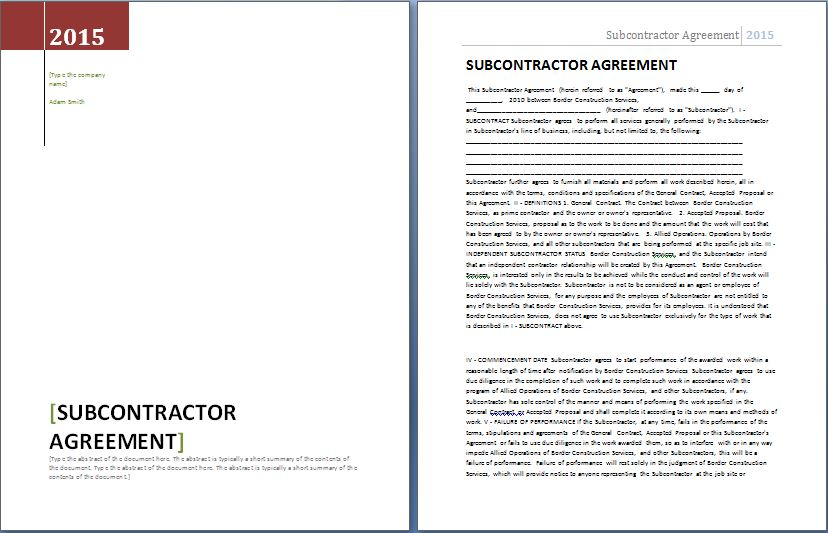 Subcontractor Agreement Template Bonsai - Subcontractor contract template