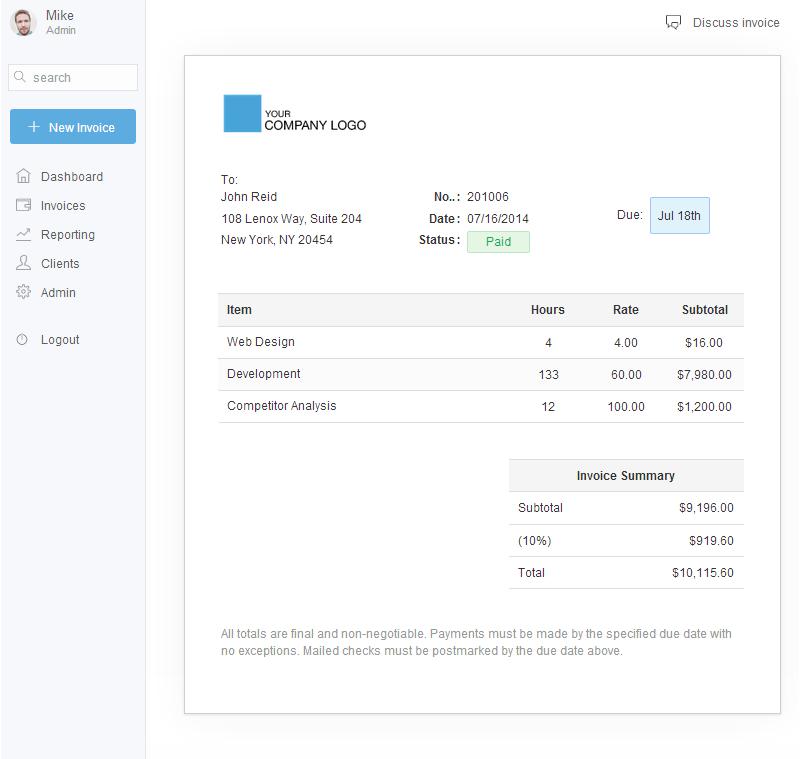 freelance invoice app bonsai