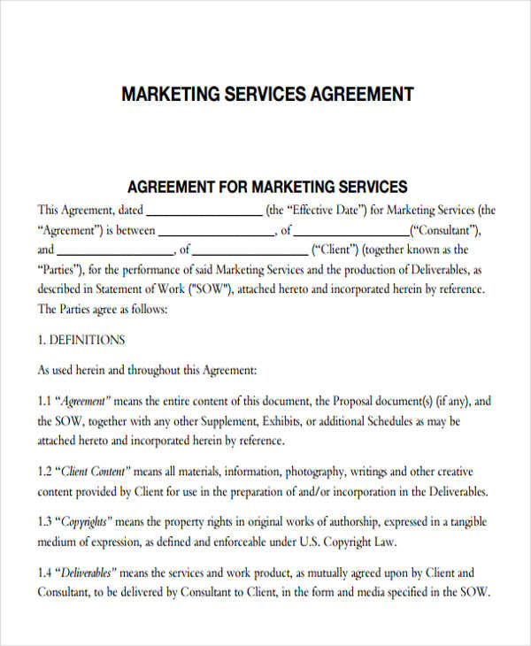 Create And Download A Marketing Agreement In Minutes Bonsai