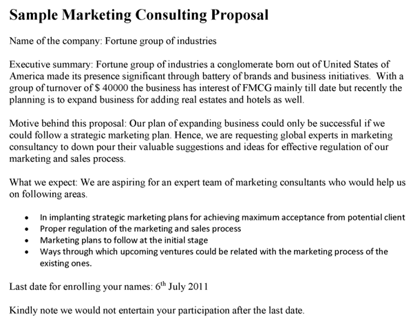 it consulting proposal sample