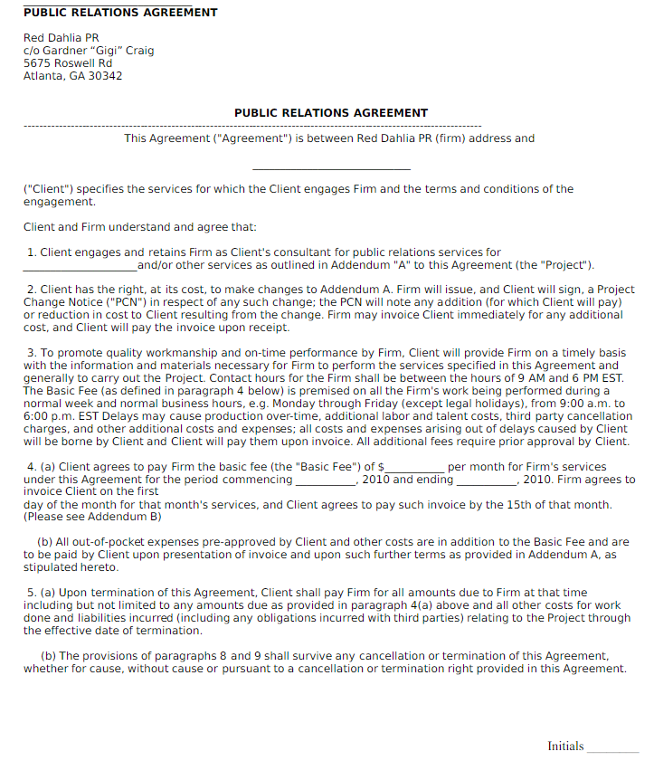 public relations agreement template - freelance public relations contract template download