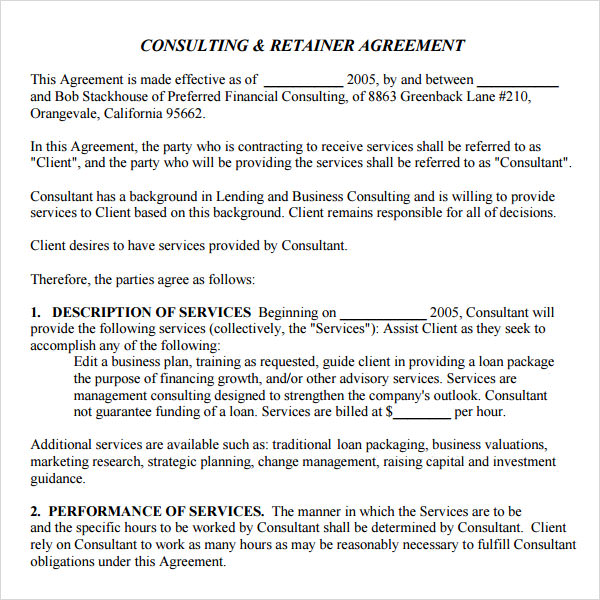 Consulting Retainer Agreement | Download Consulting Retainer Template Bonsai