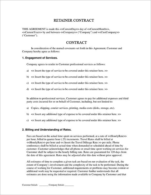 Graphic Design Retainer Contract Template Download Bonsai