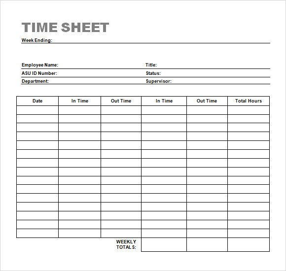 Download Simple Timesheet Template Bonsai