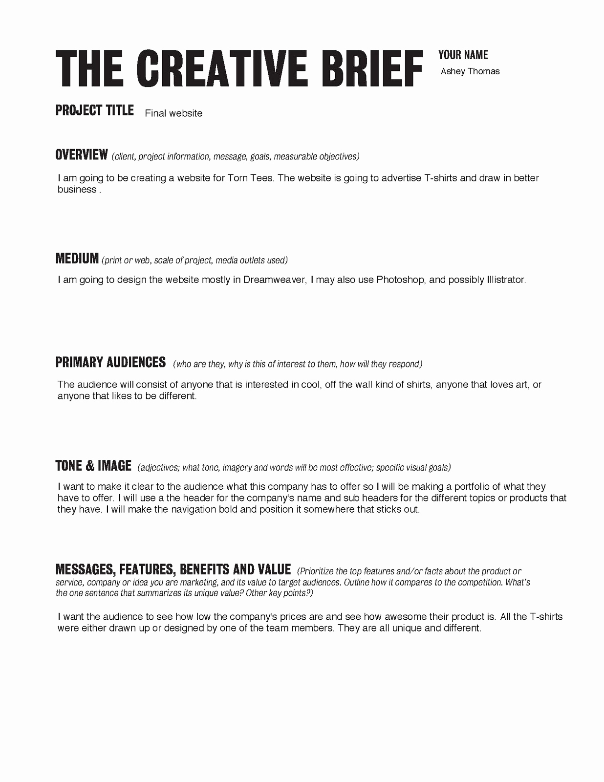 Project Brief Template | Download Design Project Brief Template Bonsai