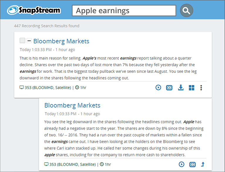 SnapStream TV Search: Apple earnings