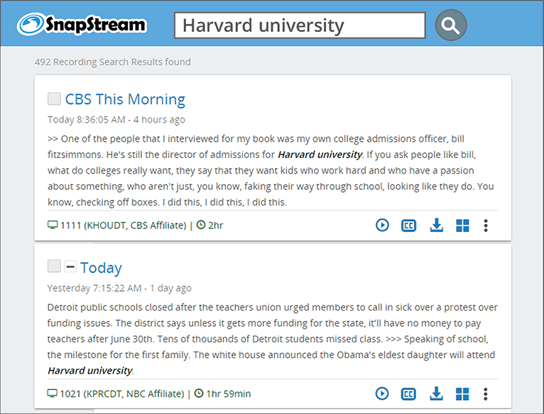 SnapStream TV Search: Harvard University