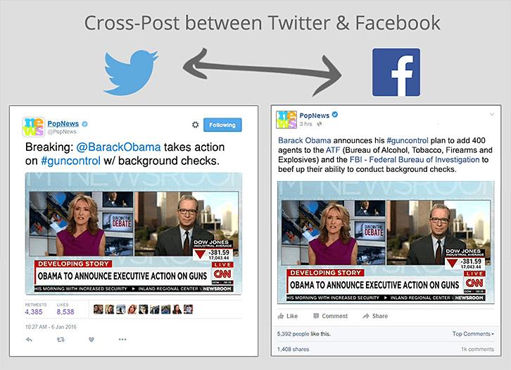 Cross-post betweet Twitter and Facebook