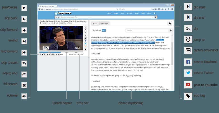 SnapStream Web Player interface