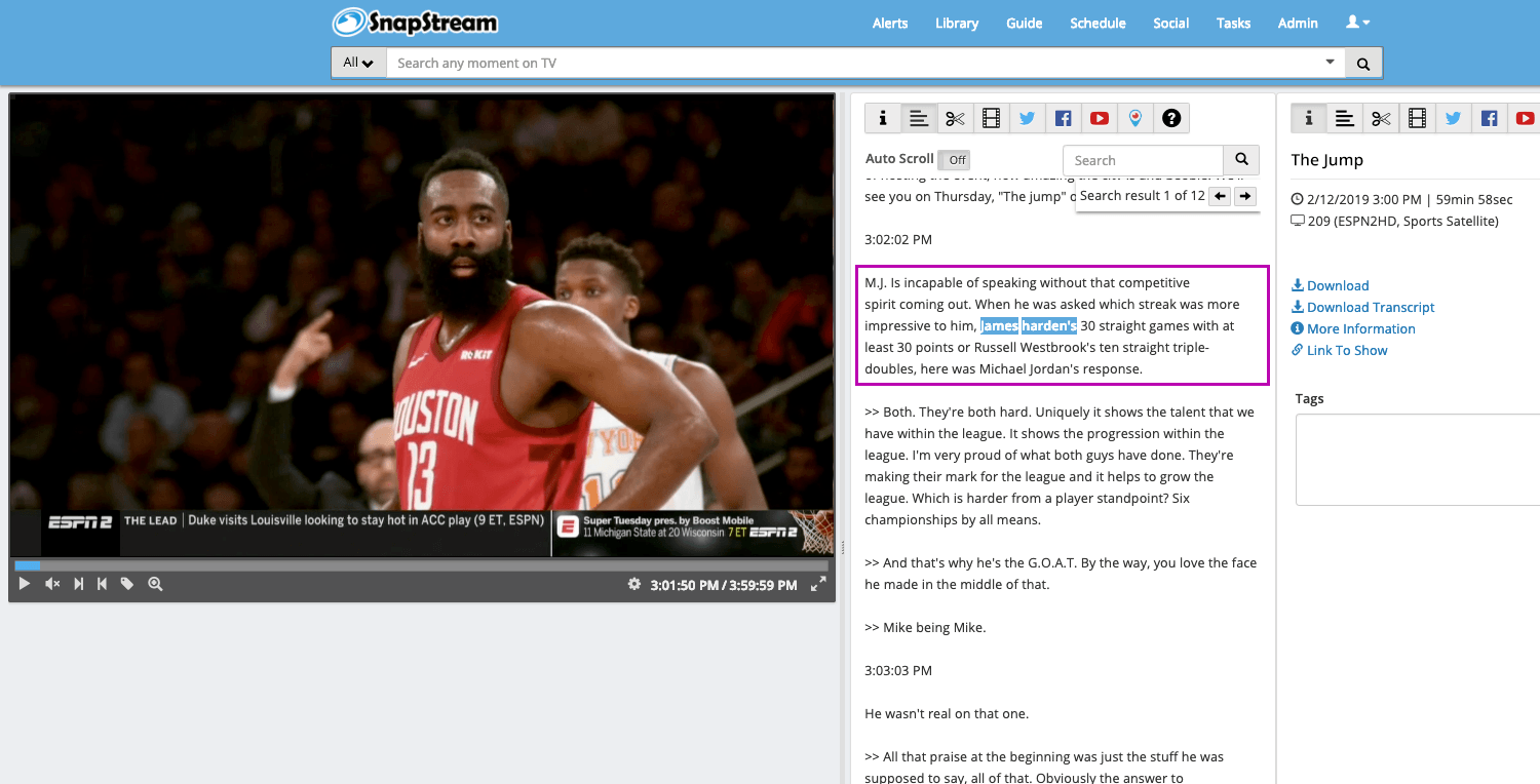 TV search for Harden