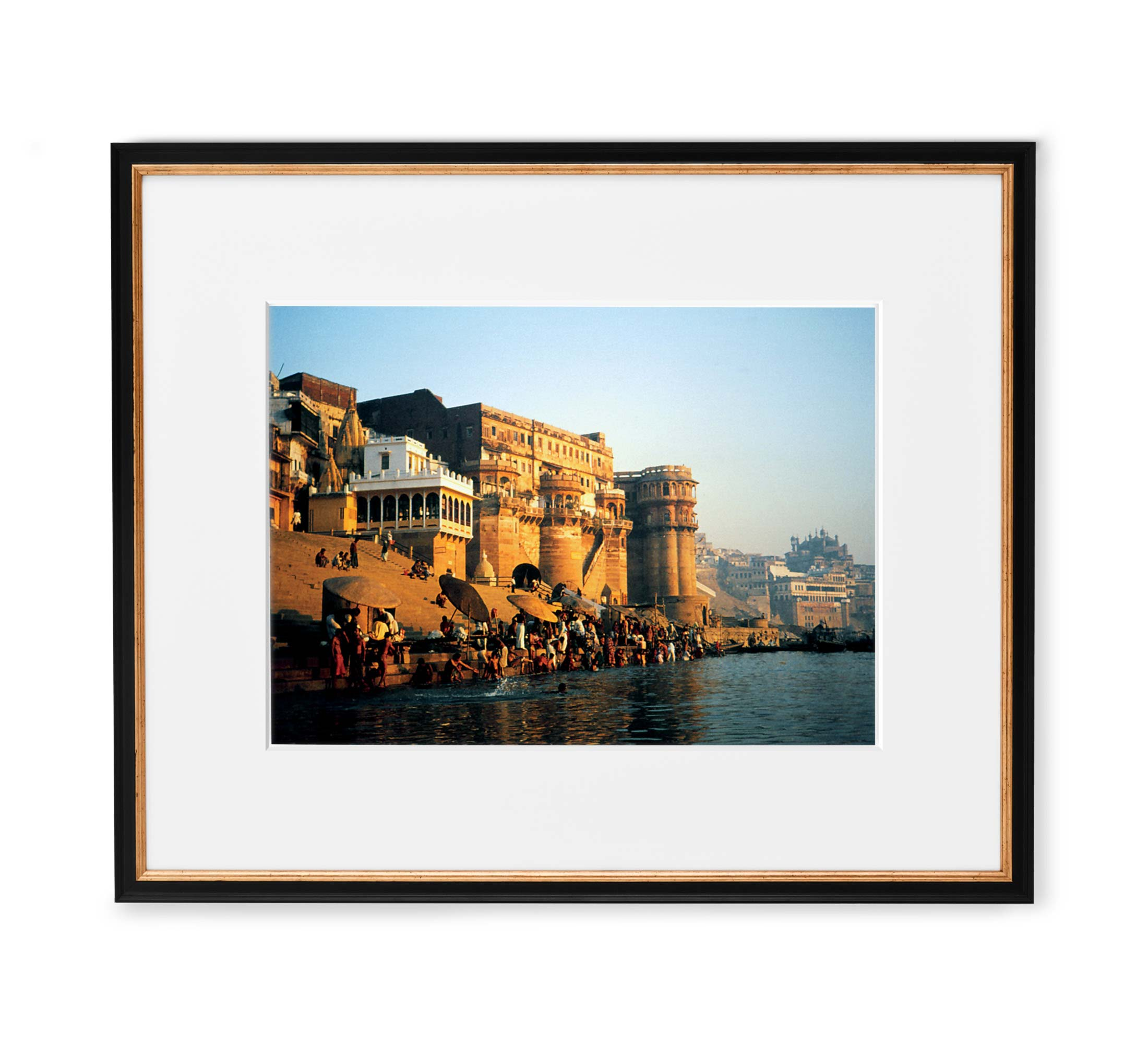 Golden Ganges Framed Black and Gold Wood