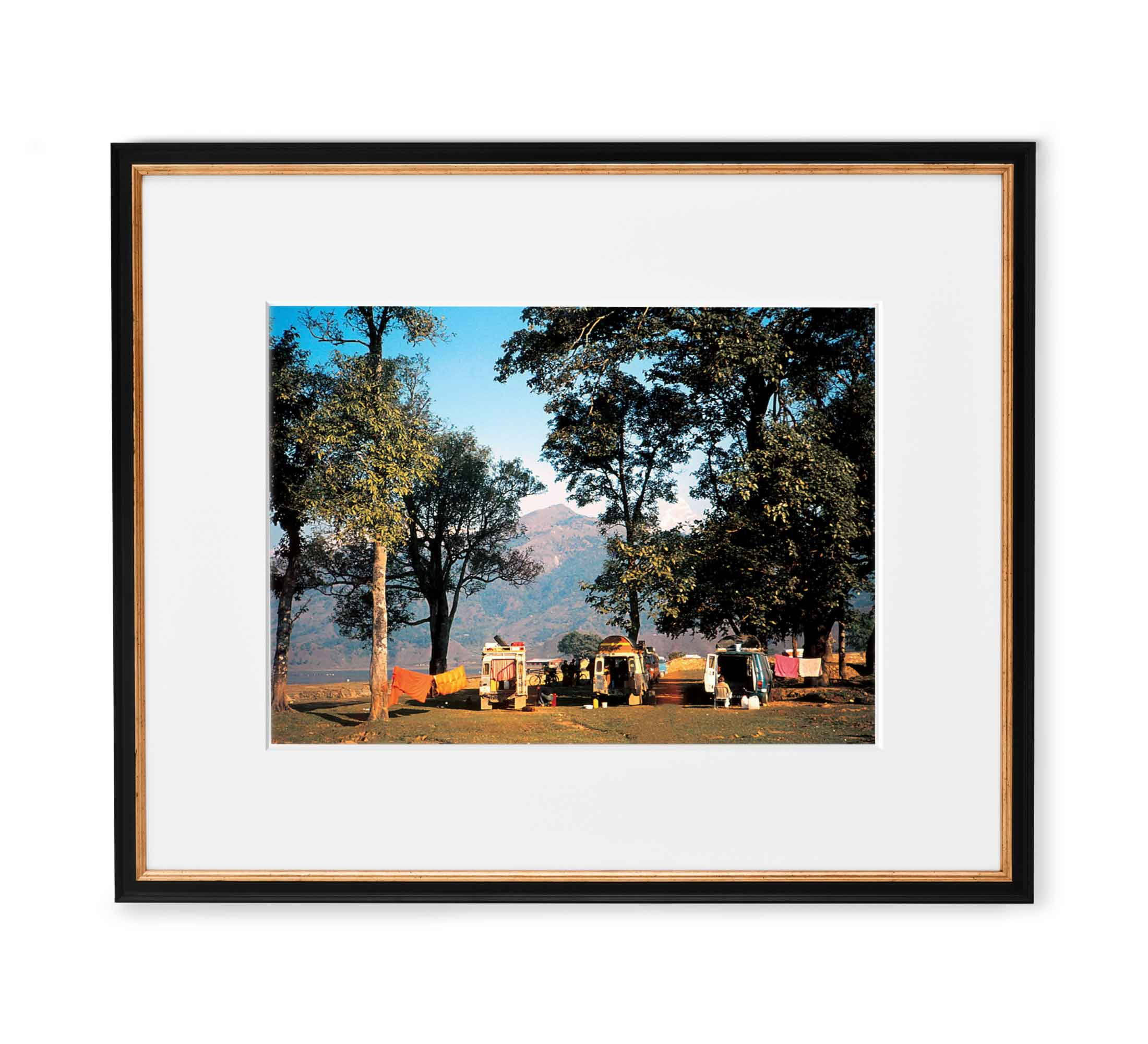Himalayan Camp Framed Black and Gold Wood