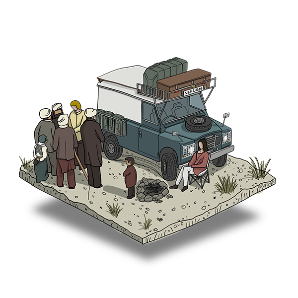 Explore more of the world. Land Rover illustration.