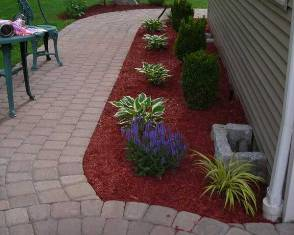 Red Mulch installed in Landscape Area