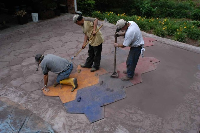 Concrete Stamps being tampered