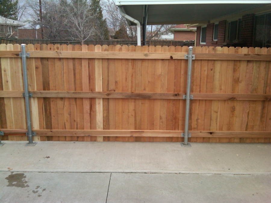 Wooden Fence with Steel Posts