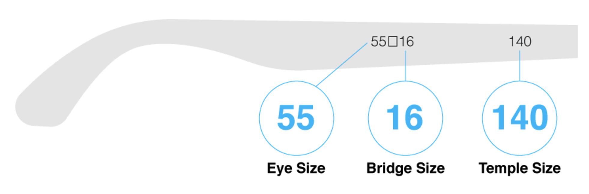 Temple size of sunglasses or glasses (Eye Size, Bridge Size, Temple Size)