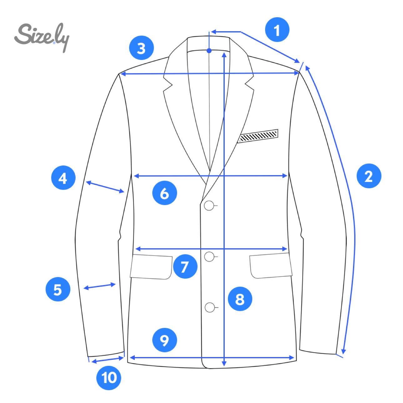 Blazer jacket measurement ares