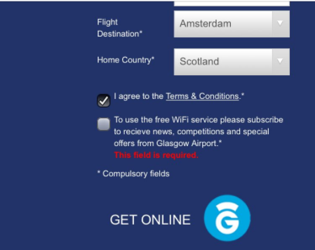 Glasgow Airport requires users to agree to marketing messages