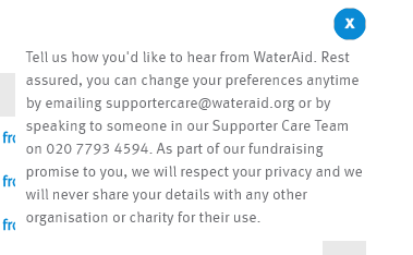 WaterAid's popup message explains how to change your preferences