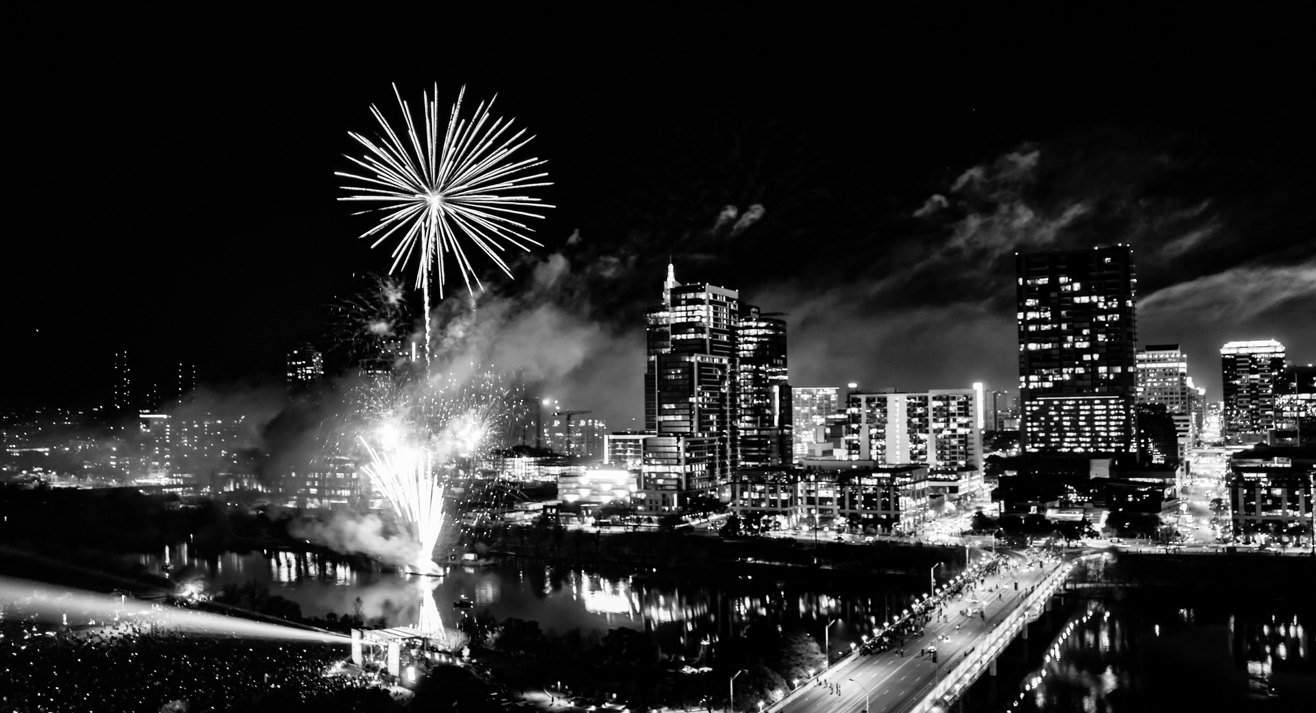 Downtown Austin Texas New Years Fireworks