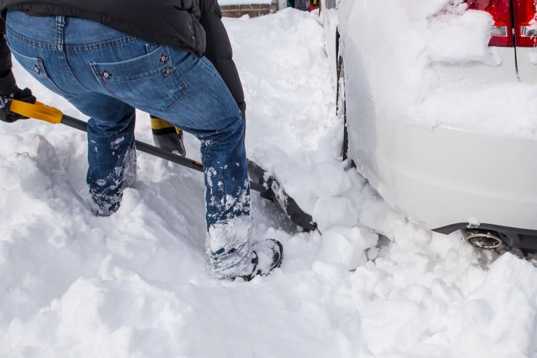 shoveling snowbank