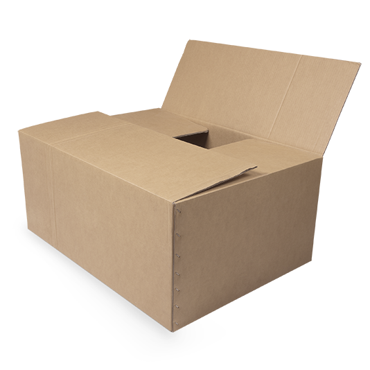 brown box with flap open