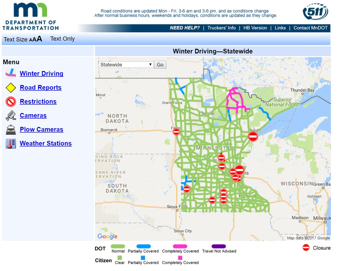 MNDOT 511 Winter Driving Map Example