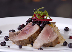 Duck with Blueberries served with Almond Rice Pilaf