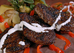 Chile Spice Rubbed Pork Medallions with Lyonnaise Sweet Potatoes