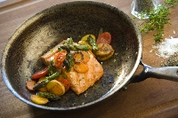 Grilled Sockeye Salmon with Roasted Garlic Aioli and Asparagus Fingerling Ragout