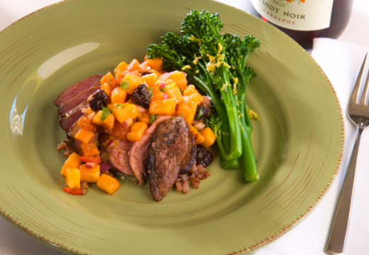 Pan Seared Duck with Ancho Chile Mango Salsa