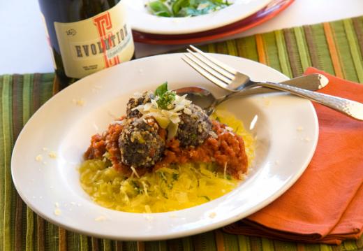 Quinoa, Black Bean & Corn Meatballs with Roasted Red Pepper Marinara & Spaghetti Squash