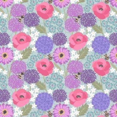 Lewis & Irene - Allium & Poppies on blue