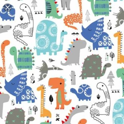 Dashwood - Playtime - Dinosaurs blues greens greys on white