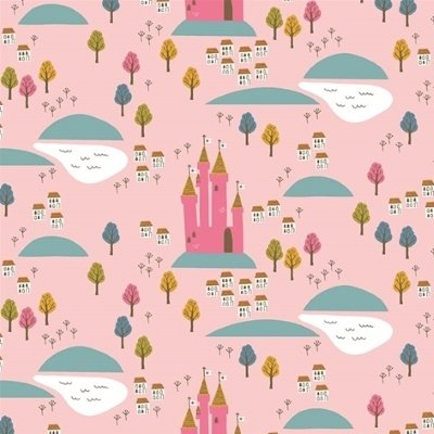 Riley Blake Fabric - Guinevere - Guinevere Castle on pink