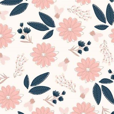 Riley Blake Fabric - Blush - Pink flowers on cream