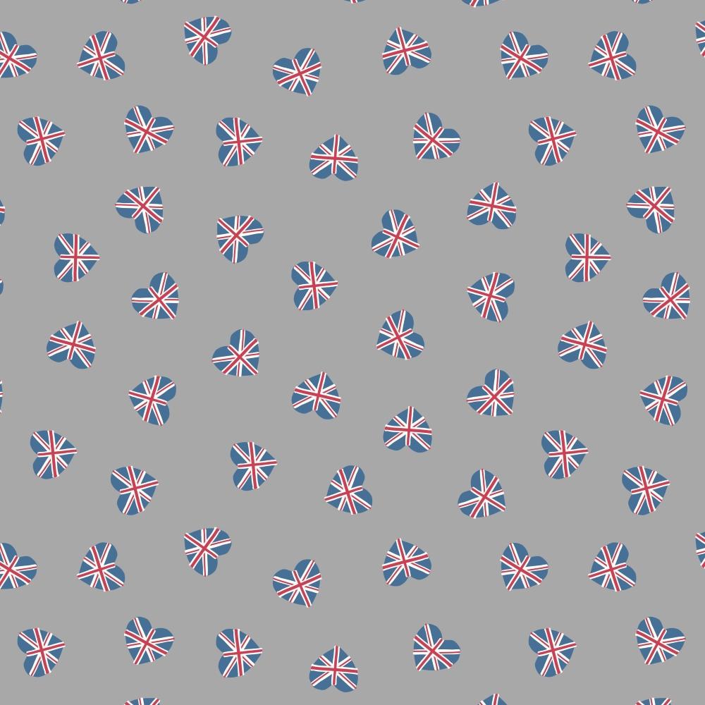 Lewis & Irene - Britannia - Union Jack hearts on grey