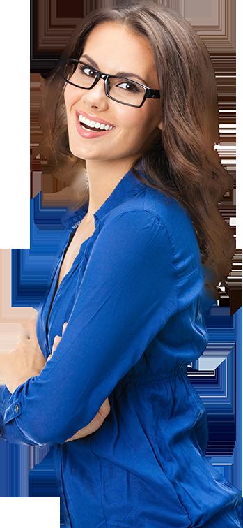 Women in blue shirt