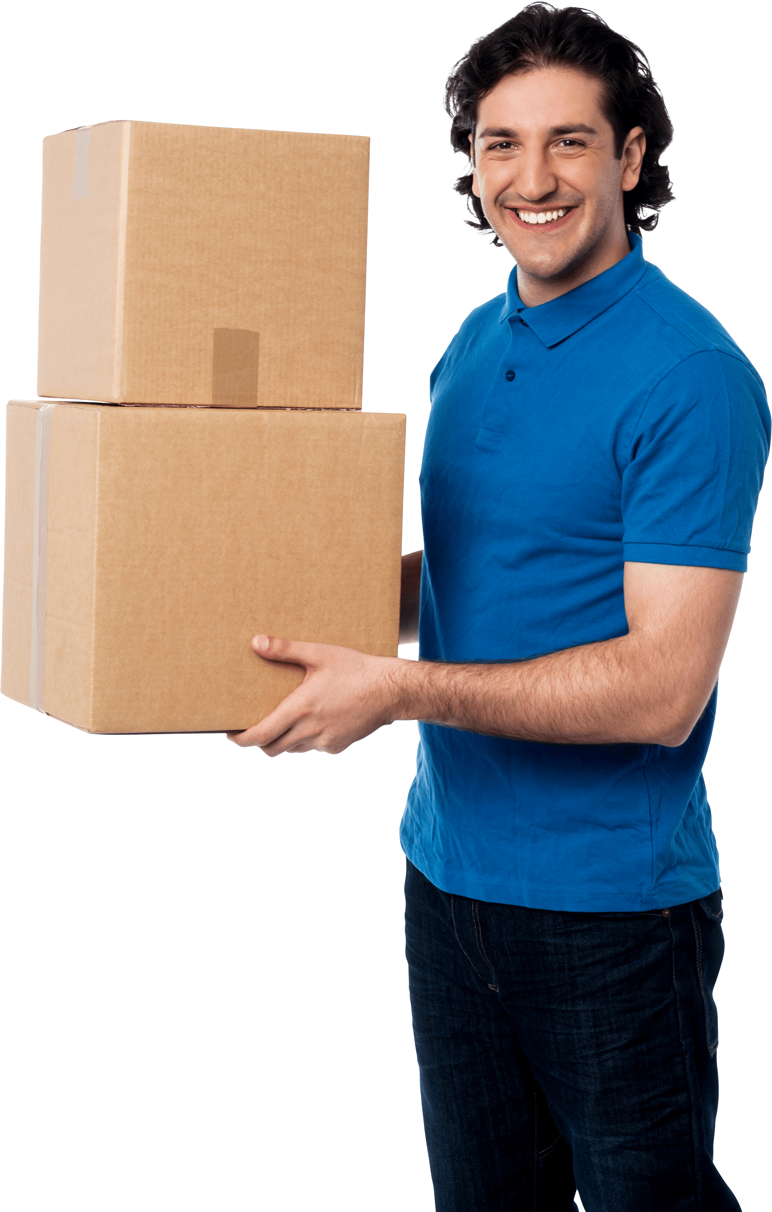 Man with boxes in blue shirt