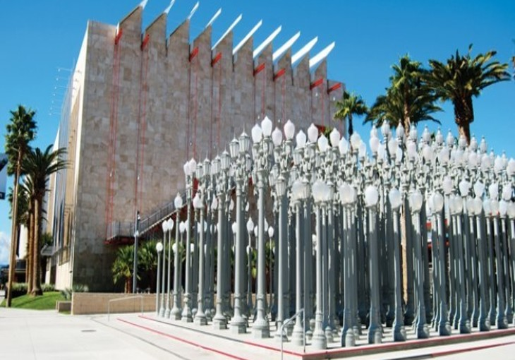 side view of lacma museum