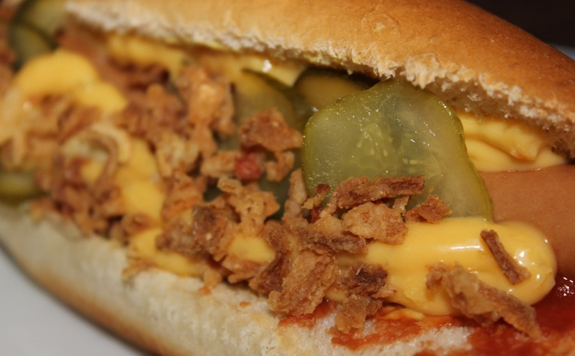 close-up of a loaded hot dog