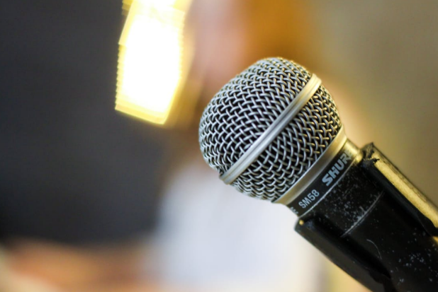 close-up of a mic