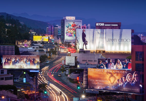 Sunset Blvd Strip View with Advertisements