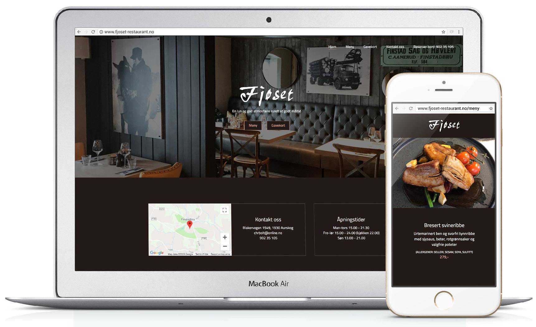 Mockup av nettsiden fjoset-restaurant.no